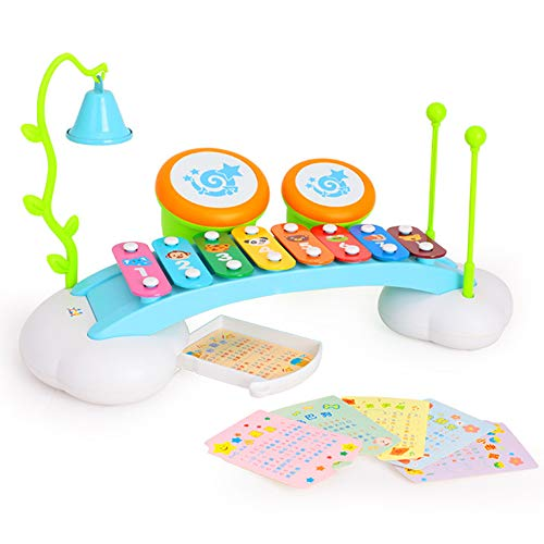 - Baby Toys Rainbow Xylophone Musical Toy Piano Bridge Instrument with 6 Music Cards, 8 Notes, Ringing Bell and Drums