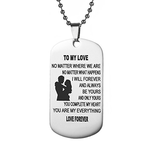 Meolin Inspirational Tag Pendant Necklace Gifts for Boyfriend Girlfriend Husband and Wife