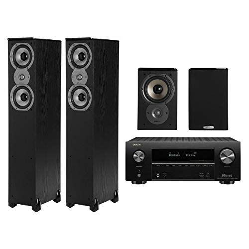 Denon AVR-X2500H 4K AV Receiver w/Polk TSi300 Tower & TSi100 Bookshelf Speakers -