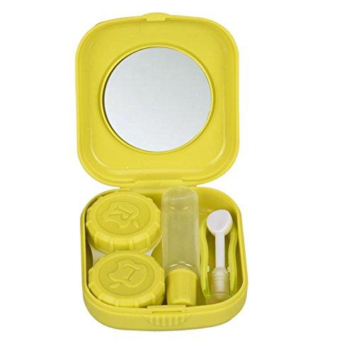 Malloom Portable Mini Cute Travel Kit Holder Mirror Box Contact Lens Case (Li...