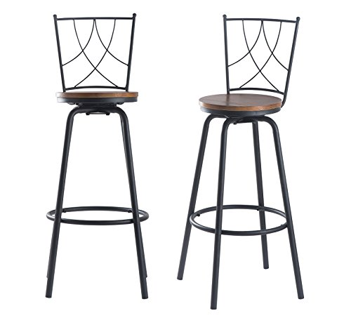 URANMOLE Wood Round Pub Bar Table Cocktail Table Pedestal Table - Kitchen Dining Room Bistro Coffee Garden Living Room Table - Wood Top Black Metal Leg and Base (Bar backrest chair-set of 2) from URANMOLE