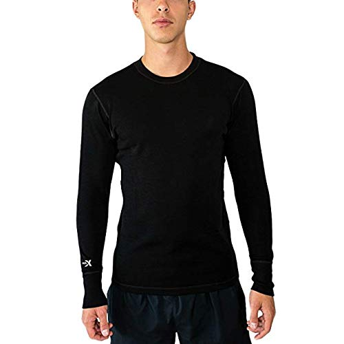 Woolx Mens Explorer Midweight Merino Wool Base Layer Crew Neck Top For Warmth, Black, Medium