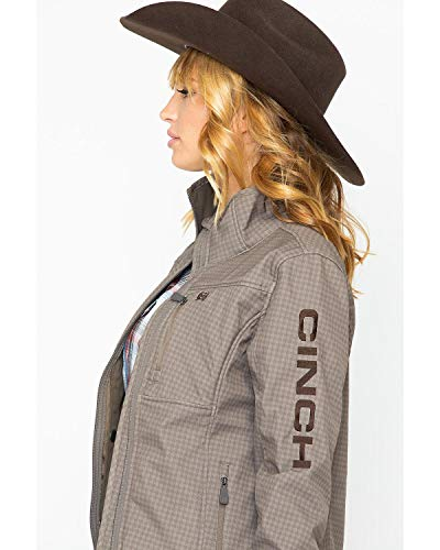 Cinch Women's Concealed Carry Bonded Softshell Jacket, Brown Print, XL