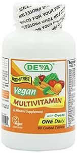 Deva Vegan Vitamins Vegan, Multivitamin & Mineral Supplement, Iron Free, Vegan, 90 Coated Tablets