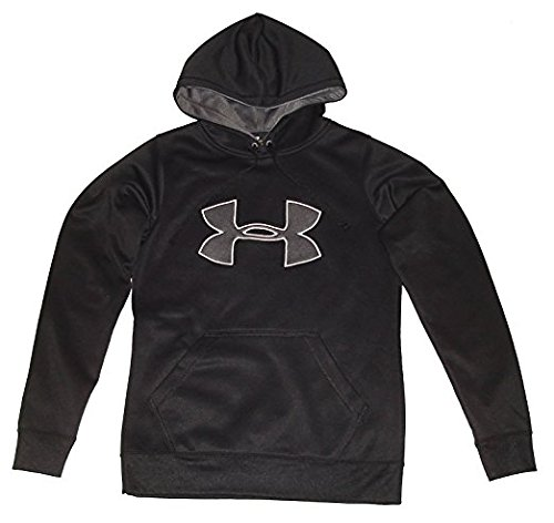 Under Armour Womens UA Armour Fleece Big Logo Hoody Tops (Small, Black/Silver/White) (Big Logo Fleece Hoodie)