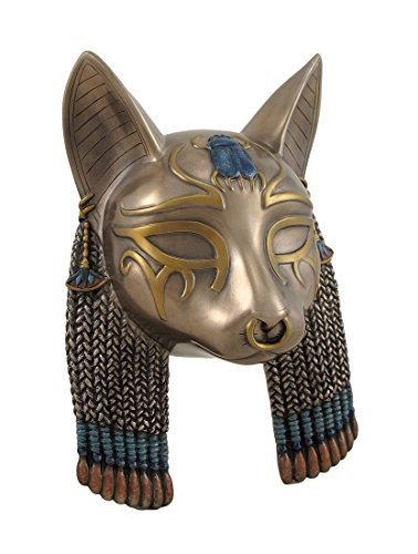 Resin Wall Sculptures Egyptian Goddess Bastet Cat Head Mask Bronzed Wall Hanging 5.5 X 7.5 X 3 Inches Bronze