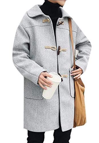 Uomo Misto Pile Lana Pea Coat Kangqi Abbigliamento Gery Fodera Monopetto Con Foderata In Da 1ST8qE
