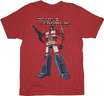 Transformers Distressed Optimus Prime Washed Red Adult T-Shirt