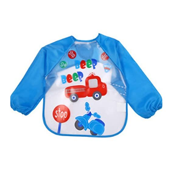 Online Monk Baby Accessories - Sleeved Washable Waterproof Bib Apron for Babies & Kids - Type Beep Beep Truck