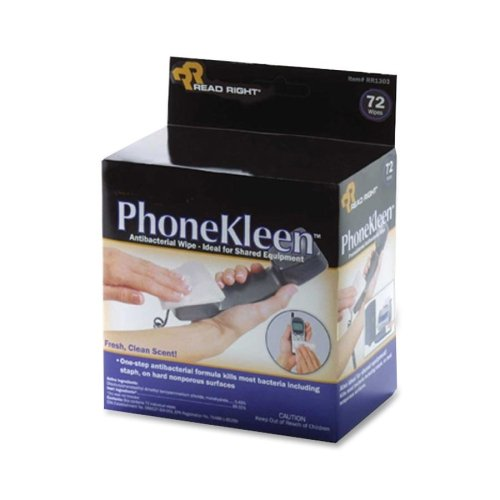 Read Right PhoneKleen Wet Wipes, Cloth, 5 x 5, 72/Box (Wipes Wet Phonekleen)