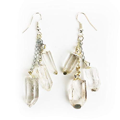 (Clear Quartz Chandelier Earrings)