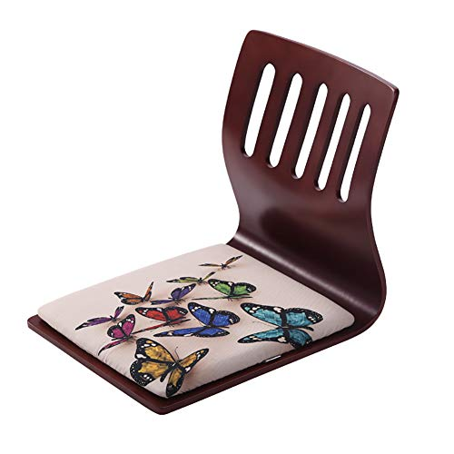 Floor Chair Brown, Portable Versatile Backrest Chairs Wood Comfortable Cloth Seat Covers for Reading Games Meditating