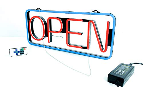 LED Open Sign Bundle| for Business|bar|Office|Store|256 Grade Super-Bright Color Light Display Combos|Red|Blue|Handmade|w/Chain Hook|programmable|Neon Flashing | Advertising|Bonus Sucker Hanger
