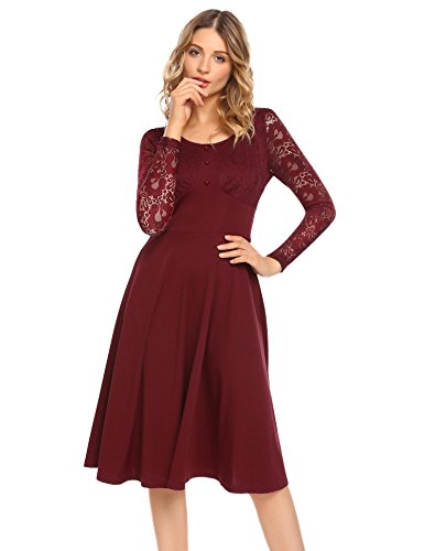 ACEVOG Women's Vintage Lace Crochet Long Sleeve Flare Midi Dress