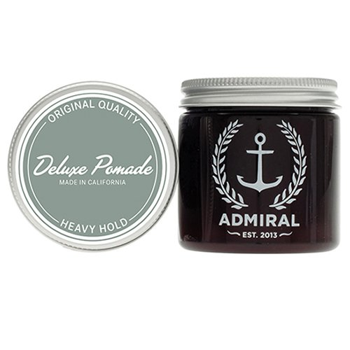 Admiral Deluxe Semi-Matte Heavy Pomade for men (Extra Strong Hold/Medium Shine) 4oz - No Parabens - Professional Grade Water Soluble Hair Styling Formula for Straight, Thick or Curly Hair