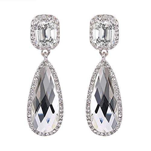 e4ee4fd30 BriLove Women's Wedding Bridal Crystal Asscher Cut Elongated Faceted  Teardrop Infinity Figure 8 Dangle Earrings