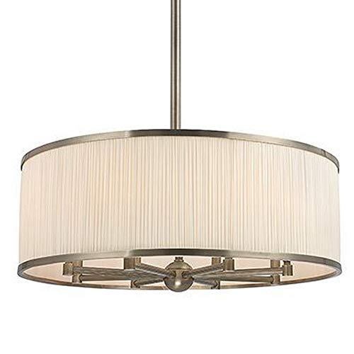 Hastings 8-Light Chandelier - Historic Nickel Finish with White Pleated Silk Shade ()