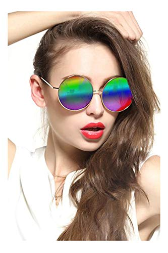 Gee-Look Oversized Round Circle Mirrored Hippie Hipster Sunglasses - Metal Frame (Multicoloured, as picture)]()