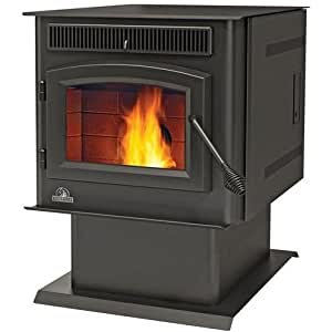 Napoleon TPS35 Pellet Stove With Pedestal Base Black Door Digital Control Panel Heat Exchanger 120 CFM Convection Fan Auto Ignitor Thermostatic Control & In
