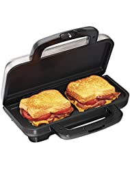 Automatic Temperature Control Red and Green LED Indicator Lights MisterChef/® 3in1 Sandwich Maker Non-Stick Removable Plates Cool Touch Handles Anti-Skid Feet Black /& Chrome Waffle Maker