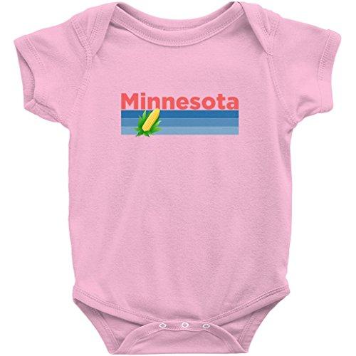 Minnesota Corn (Minnesota Retro Corn Design - Unisex Infant Baby Onesie/Bodysuit (Pink, 12M))