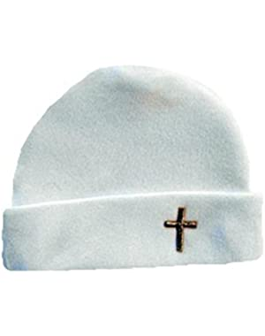 Jacqui's Unisex White Baby Hat with Gold Cross