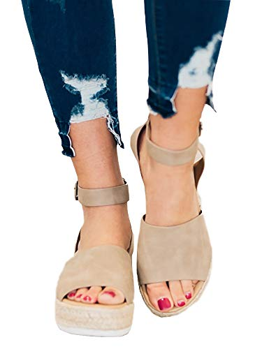 Casual Espadrilles Trim Rubber Sole Flatform Studded Wedge Buckle Ankle Strap Open Toe Sandals