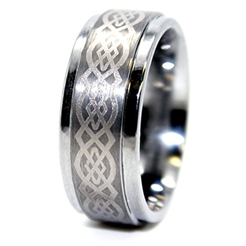 9mm Celtic Knot Tungsten Carbide Wedding Ring Size 15 (Tungsten Solid Ring Laser Carbide)