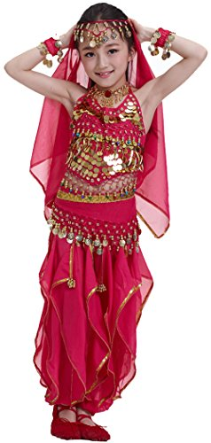 Seawhisper Kid's Belly Dance Costume Girl Bollywood Dance Tribal Halloween Costume(B style hot (Pink Dance Costume)