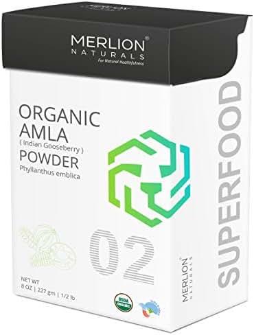 Organic Amla Powder by Merlion Naturals | Philanthus emblica/Indian Gooseberry | 227gm/ 8OZ/ 1/2lb | USDA NOP Certified 100% Organic
