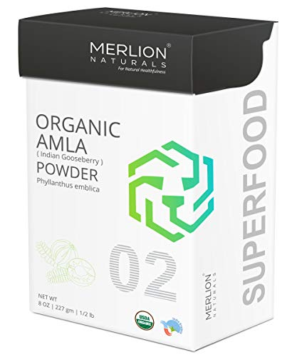 Organic Amla Powder by Merlion Naturals | Philanthus emblica/Indian Gooseberry | 227gm/ 8OZ/ 1/2lb | USDA NOP Certified 100% Organic (Best Iron Tonic In India)