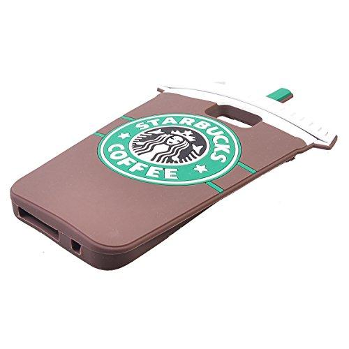 COOLKE Moda 3D Lovely Cartoon Suave Silicona Funda Carcasa Tapa Case Cover para Samsung Galaxy S7 Edge - Rosa marrón