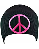 Luxury Divas Peace Sign On Black Tight Knit Beanie Cap Hat
