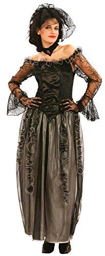 Ladies Long Black Widowed Dead Bride Halloween Wedding Horror Fancy Dress Costume Outfit UK -
