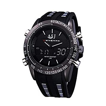 fenkoo Hombre Reloj de pulsera Quartz japonés LED/Calendario/Cronógrafo/Resistente al agua