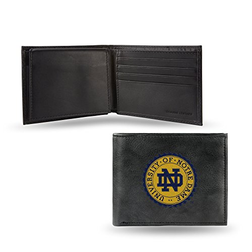Rico Notre Dame Fighting Irish NCAA Embroidered Team Logo Black Leather Billfold Wallet