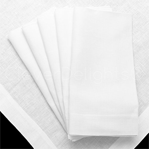 12 Pack - CleverDelights White Linen Dinner Napkins - 20
