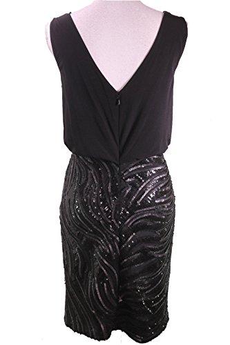 Sequin Calvin Sz Blouson Dress Cocktail Klein 4 Black Womens Combo nqa6qCw