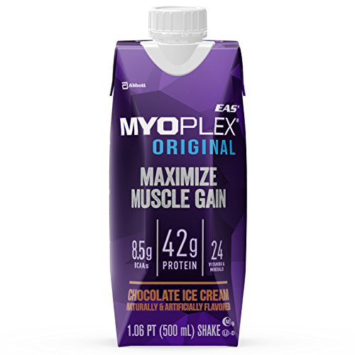 EAS Myoplex Original Ready-To-Drink Protein Shake, Chocolate Ice Cream, 16.9 Ounce, 4 Count (Pack of 3)