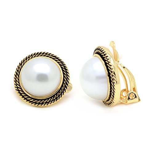 Pearl Rope Earrings (Sparkly Bride Simulated Pearl Clip On Earrings Gold Plated Vintage Braided Rope)