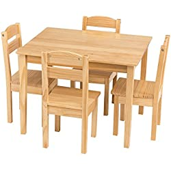 Costzon Kids Wooden Table and Chairs, 5 Pieces Set Includes 4 Chairs and 1 Activity Table, Picnic Table with Chairs (Natural)