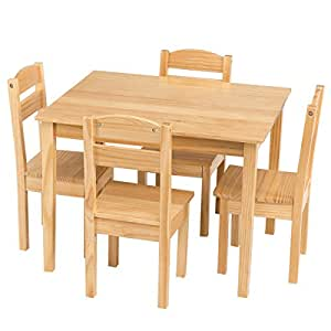 costzon kids wooden table and chairs 5 pieces set includes 4 chairs and 1 activity. Black Bedroom Furniture Sets. Home Design Ideas
