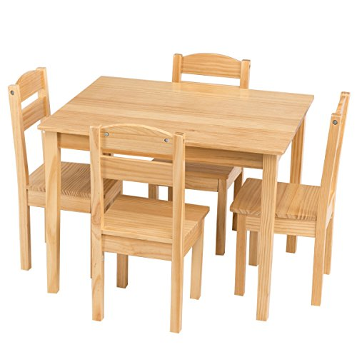 Costzon Kids Wooden Table and 4 Chair Set, 5 Pieces Set Includes 4 Chairs and 1 Activity Table, Toddler Table for 2-6 Years, Playroom Furniture, Picnic Table w/Chairs, Dining Table - Color 2 Pique