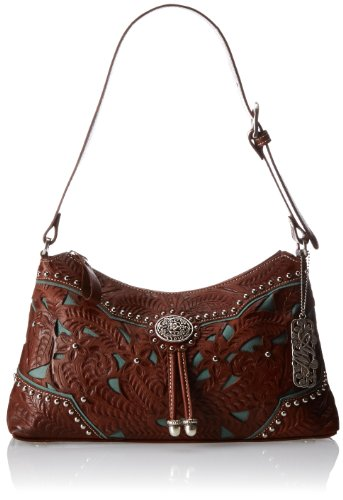 American West Lady Lace Zip-Top Shoulder Bag,Antique Brown/Turquoise,One Size by American West