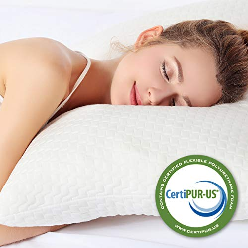Pillows for Sleeping, Bed Pillow for Side Sleeper, Back Support, Registered with FDA CertiPUR-US Shredded Memory Foam for Adjustable Loft, Machine Washable Bamboo Cover - Queen