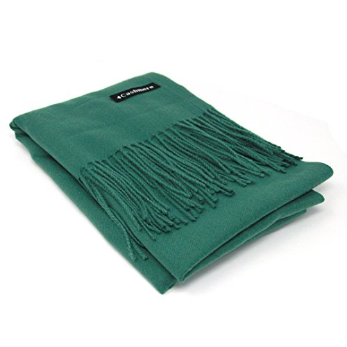 Silk Knit 100% - Dark Green 100% Cashmere Scarf - Gift Box, Large Size, Removable Tag, Limited Availability