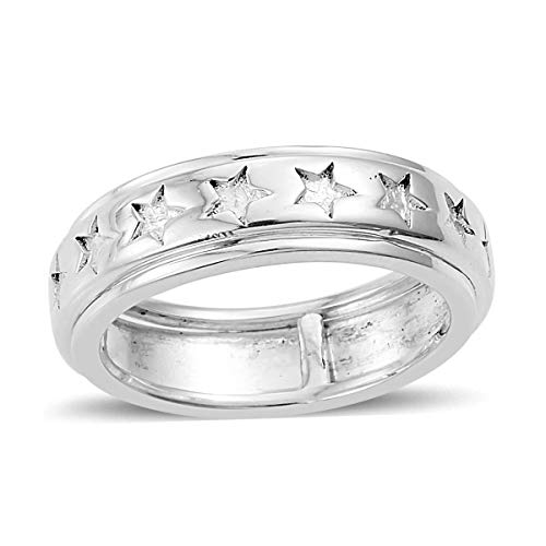- 925 Sterling Silver Star Spinner Band Ring for Women Jewelry Gift Size 6