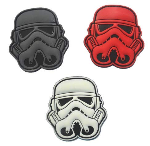 3pcs Star War Storm Trooper Helmet Military PVC Patch Rubber Badges Patch Tactical Stickers for Clothes Back with Hook (3pcs) ()