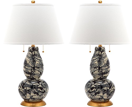 - Safavieh Lighting Collection Color Swirls Black and White 28.5-inch Table Lamp (Set of 2)