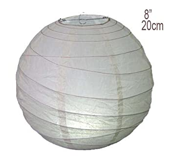 """3 pack of 8"""" (20cm) White Round Rice Paper Hanging Lampshade"""